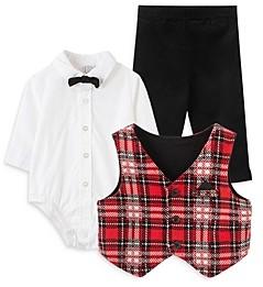 Little Me Boys' 3-Piece Plaid Vest, Bodysuit & Pants Set - Baby