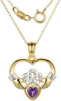 JCPenney FINE JEWELRY Heart-Shaped Genuine Amethyst and Diamond-Accent Claddagh Pendant Necklace