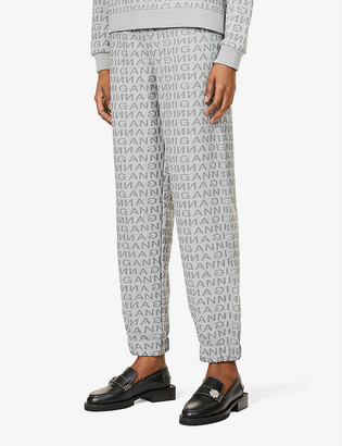 Ganni Logo-print recycled cotton and recycled polyester-blend jogging bottoms