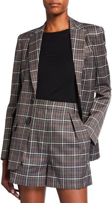 Tibi Gabe Windowpane Check Menswear Suiting Blazer