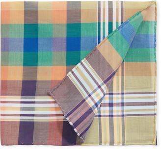 Simonnot Godard Men's Madras Multicolor Check Pocket Square