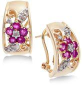 Macy's Ruby (1 ct. t.w.) & Diamond (1/6 ct. t.w.) Floral Hoop Earrings in 14k Gold