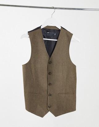 ASOS DESIGN wedding super skinny wool mix suit waistcoat in camel herringbone
