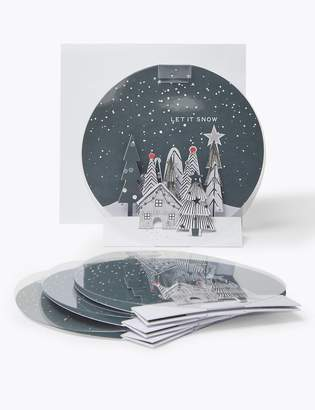 Marks and Spencer 3D Snow Globe Charity Christmas Cards - Pack of 4