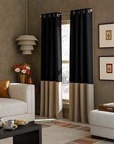 Curtainworks Kendall Color Block Grommet Curtain Panel, 84-Inch, Black