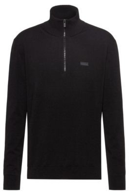 HUGO BOSS Zip-neck sweater in cotton-blend stretch crepe