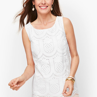 Talbots Eyelet Pineapple Button Back Shell