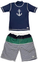 Banz Two-Piece Anchor-Print Rash Guard and Swim Shorts Set