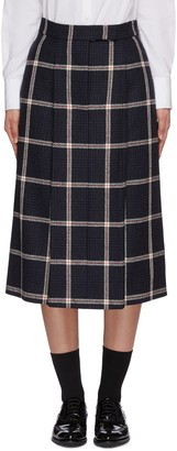 Thom Browne High Waist Prince of Wales Check Single Pleat Wool Tweed Skirt