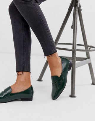 Asos Design DESIGN Membership loafer flat shoes in green