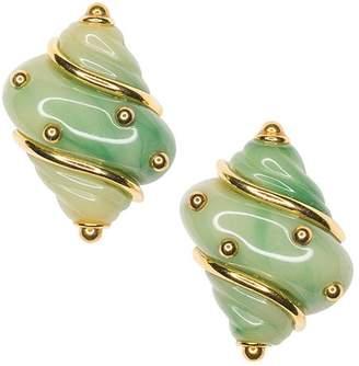 Kenneth Jay Lane Jade Seashell Clip Earrings
