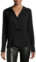 Halston Long-Sleeve Pleated-Front Shirt, Black
