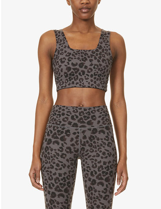 Varley Delta leopard-print stretch-woven sports bra