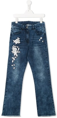 MonnaLisa TEEN embroidered frayed jeans