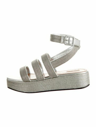 Alaia Leather Studded Accents Sandals w/ Tags Silver