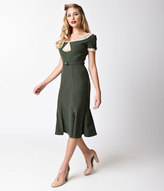 Stop Staring Exclusive 1930s Deep Olive Green & Ivory Railene Dress