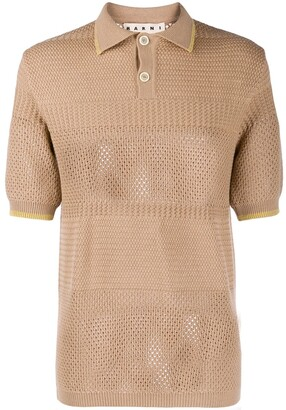Marni perforated knit polo shirt