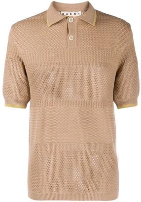 Marni Perforated Knit Polo Shirt