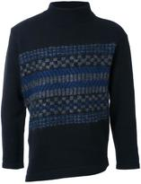 EN ROUTE striped panel turtleneck jumper