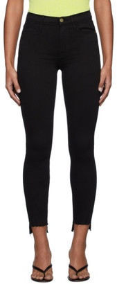 Frame Black Le High Rise Raw Stagger Jeans