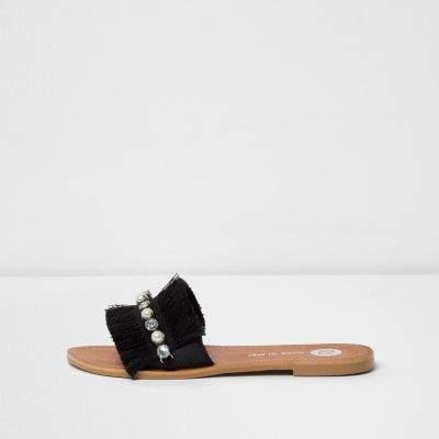 River Island Womens Black fringe embellished sandals