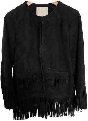 Maje Black Suede Leather jackets