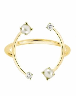 KatKim Pearl and Diamond Harpe Ring