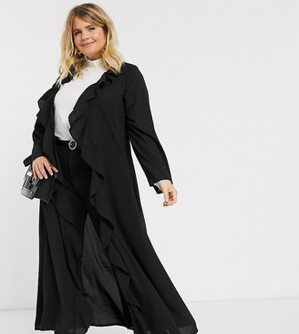 Verona Curve frill front duster jacket in black