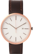 Uniform Wares M40 Rose Gold Pvd-plated Stainless Steel And Cordovan Leather Watch