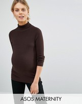 Asos High Neck Sweater In Rib