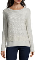ST. JOHN'S BAY St. John's Bay Long-Sleeve Pointelle Layered Sweater