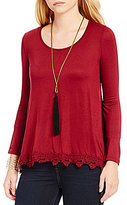 Takara Crochet Trim Long-Sleeve Tunic Top