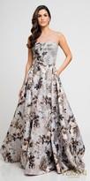 Terani Couture Metallic Floral Printed A-line Evening Dress