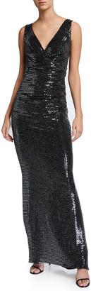 Talbot Runhof Chevron-Mirror Ruched Jersey Gown