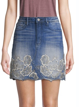 Driftwood Embroidered Floral Denim Mini Skirt
