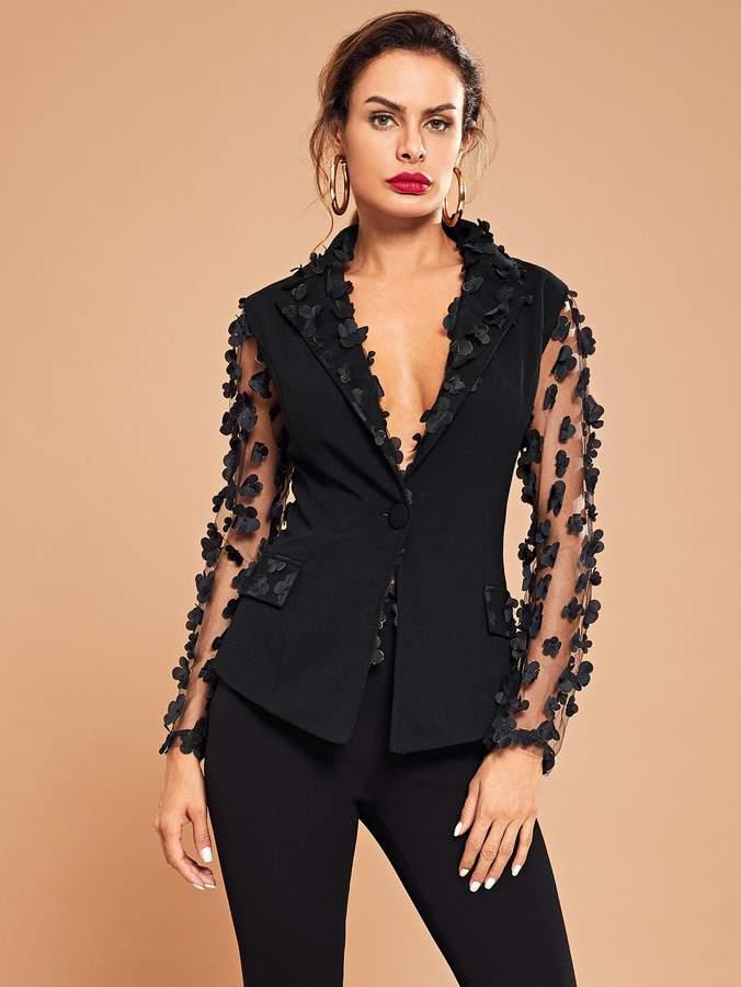 Appliques Mesh Sleeve Buttoned Blazer