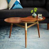 west elm Clover Coffee Table - Walnut/Antique Brass