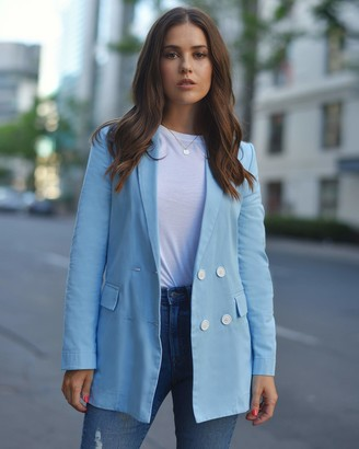 The Drop Women's Airy Blue Loose-Fit Double Breasted Blazer by @paolaalberdi S