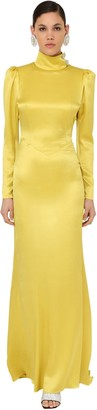 Alessandra Rich Long Embellished Satin Turtleneck Dress