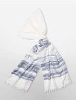 Calvin Klein Lurex Mix Sheer Stripe Oblong Scarf