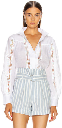 Frame Panel Lace Button Up Top in Blanc | FWRD
