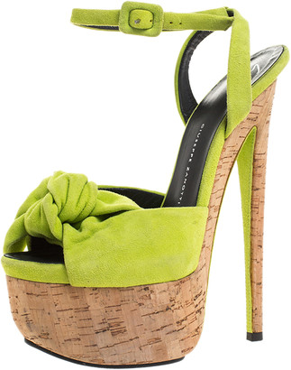 Giuseppe Zanotti Neon Green Suede Bow Ankle Strap Platform Sandals Size 37.5