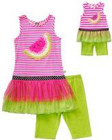 Dollie & Me Girls 4-14 Striped Tiered Tunic & Biker Shorts Set