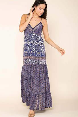 Raga Micah Border Print Maxi Dress Blue Multi M