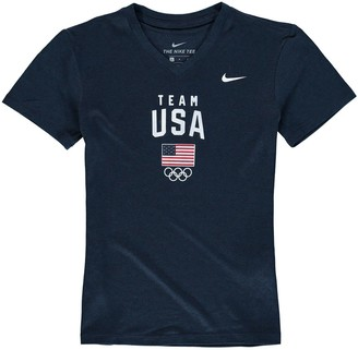 Nike Girls Youth Navy Team USA Legend Performance V-Neck T-Shirt