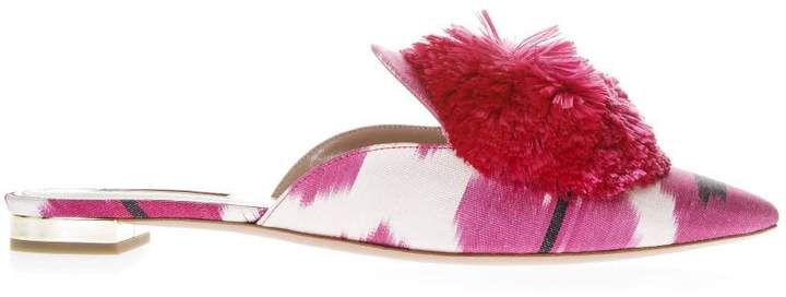 Aquazzura Fuxia Satin Slipper With Puff Detail