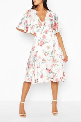 boohoo Floral Angel Sleeve Midi Skater Dress