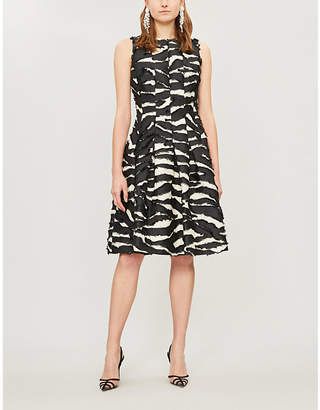 Oscar de la Renta Zebra-Print Woven Knee-Length Dress