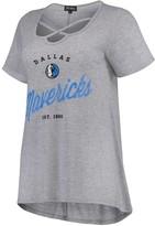 Unbranded Women's Heathered Gray Dallas Mavericks Criss Cross Front Tri-Blend T-Shirt