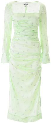 Ganni Floral Ruched Midi Dress